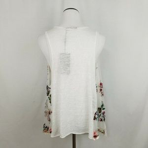 lola Tops - Lola White Floral Embroidered Vest Open Cardigan
